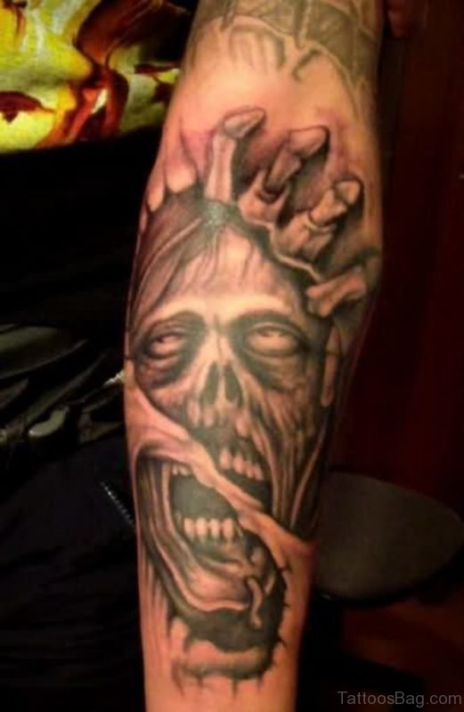 Black And Grey Ripped Skin Zombie Face Tattoo