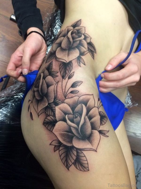 Black And Grey Rose Tattoo On Thigh