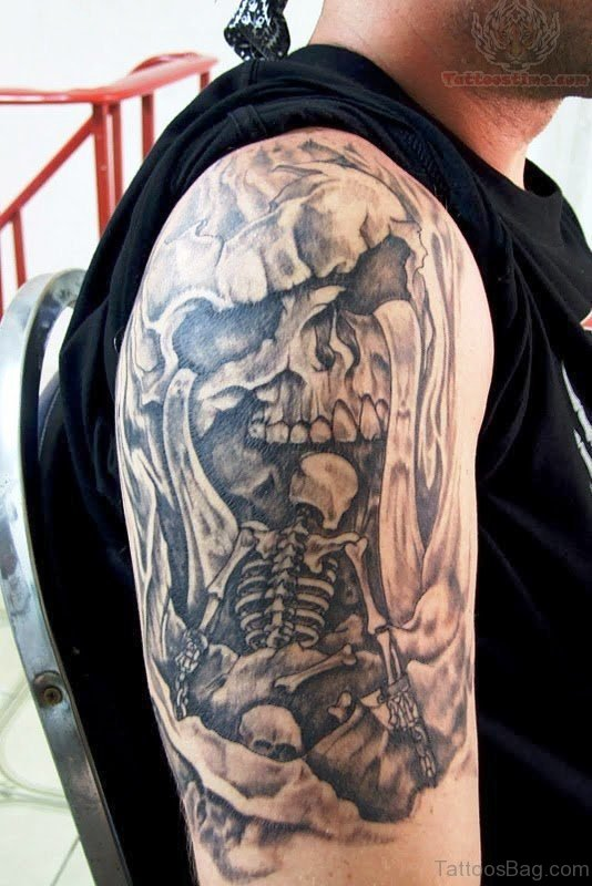 Black And Grey Skull Tattoo Design