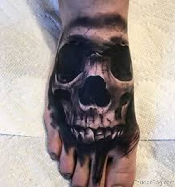 Black And Grey Skull Tattoo On Right Foot