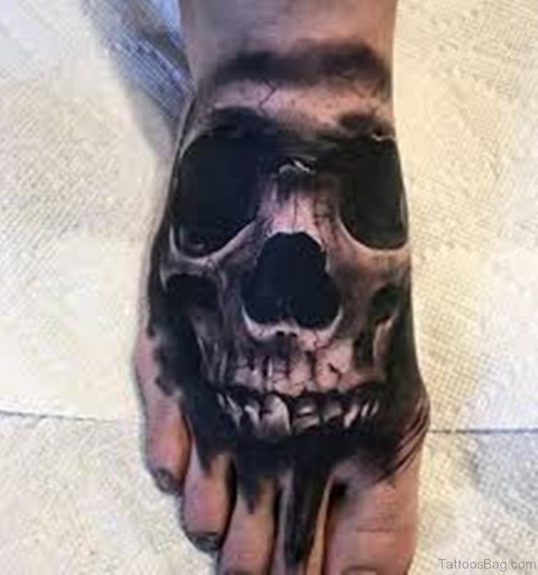 50 outstanding skull tattoos on foot. Black Bedroom Furniture Sets. Home Design Ideas