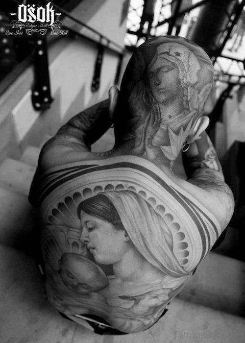 Black And Grey Virgin Mary Neck Tattoo
