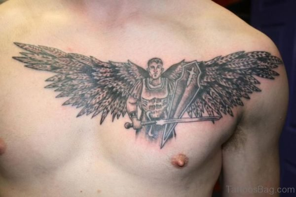 Black And Grey Warrior With Wings Tattoo