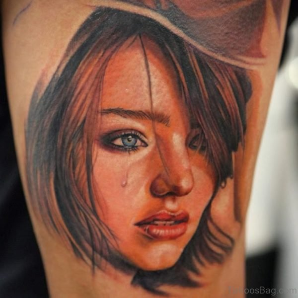 Black And Red Crying Girl Portrait Tattoo
