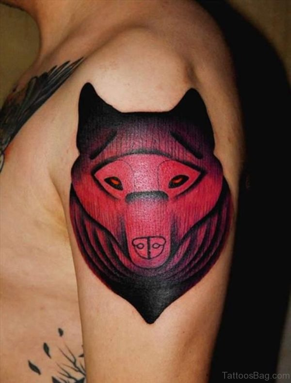 Black And Red Ink Wolf Tattoo on Left Shoulder