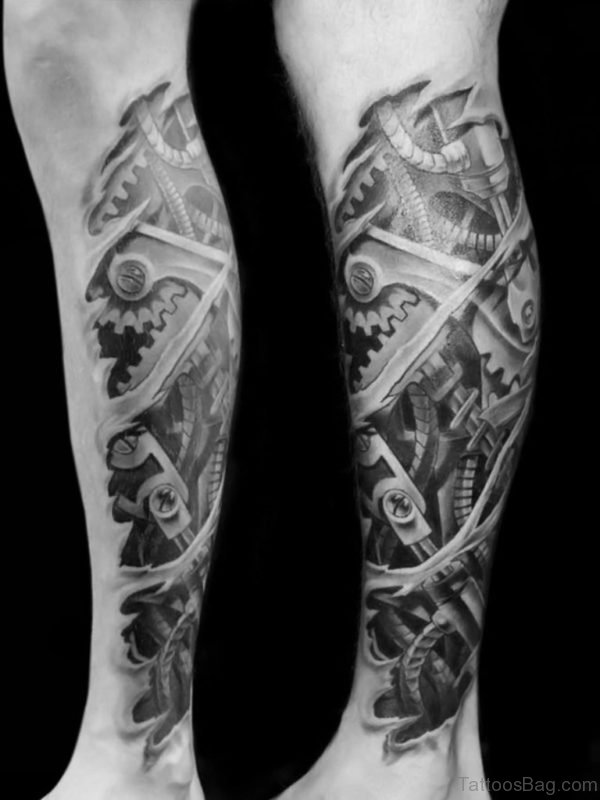 Black And White Biomechanical Leg Tattoo Design