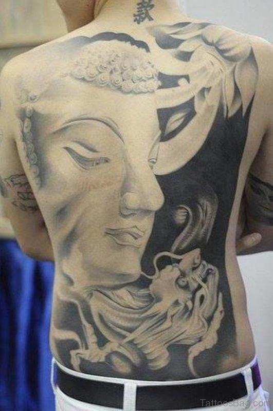 Black And White Buddha Tattoo On Full Back