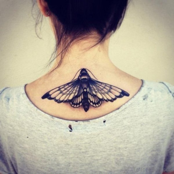 Black And White Butterfly Tattoo On Neck