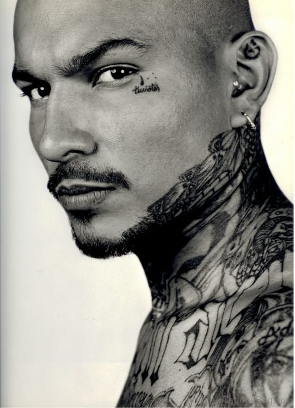Black And White Gangster Neck Tattoo