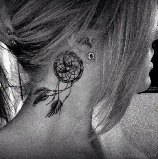 Black And White Neck Tattoo