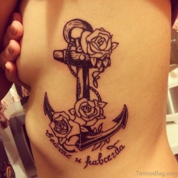 Black And White Rose And Anchor Tattoo