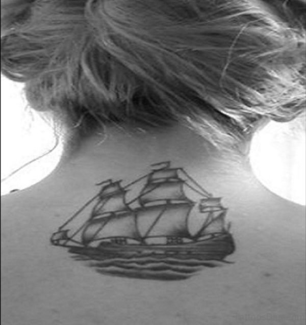 Black And White Ship Neck Tattoo
