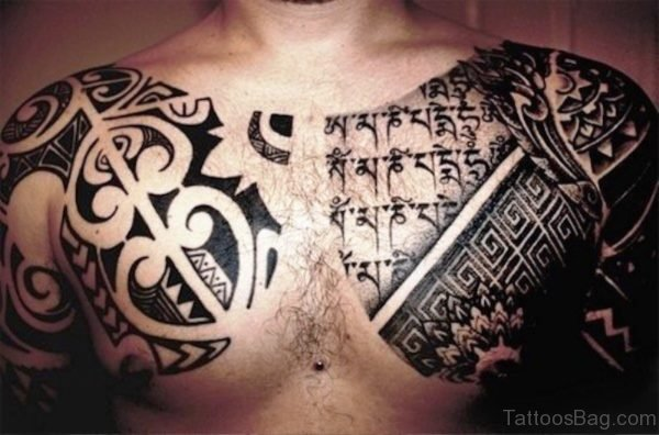 Black Armour Tattoo On Chest