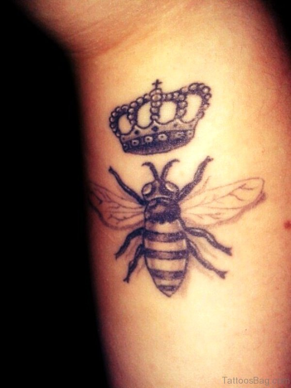 Black Bee With Crown On Wrist