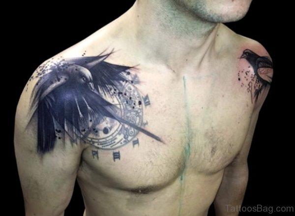 Black Bird Shoulder Tattoo