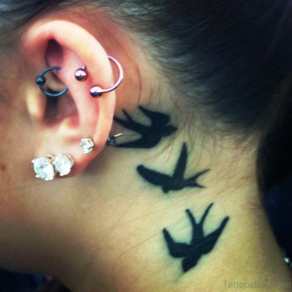 Black Birds Tattoo On Neck