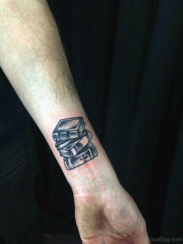 Black Books Wrist Tattoo