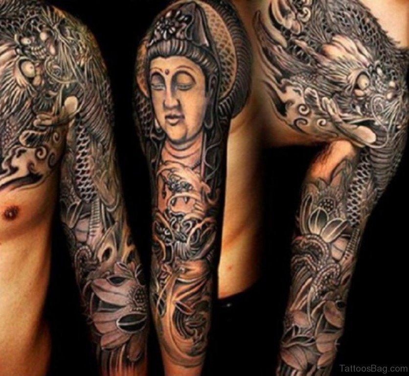 55 New Style Buddha Tattoo On Full Sleeve