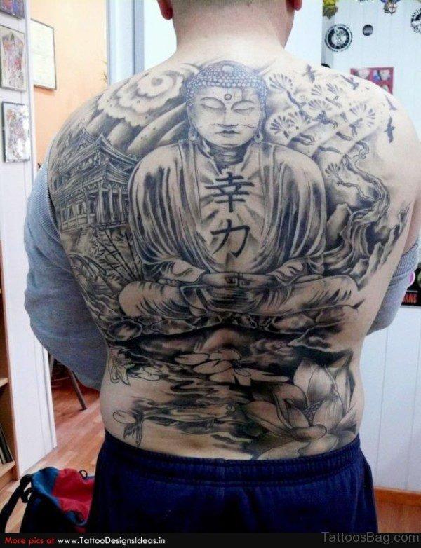 Black Buddha Tattoo On Full Back