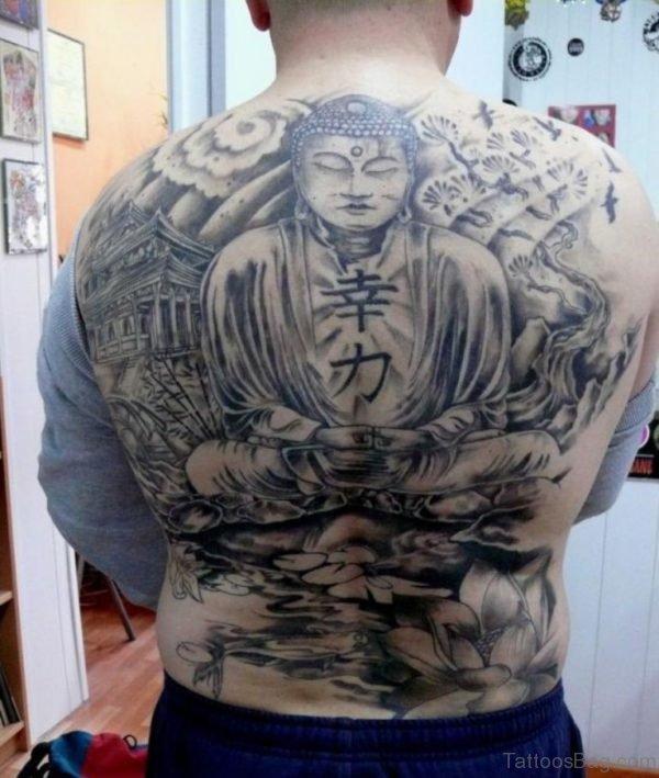 Black Buddha Tattoo On Man Full Back