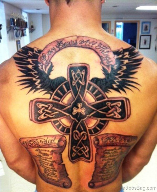 Black Celtic Cross Tattoo On Back