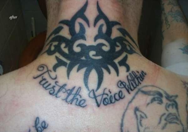 Black Celtic Knot Tattoo On Neck