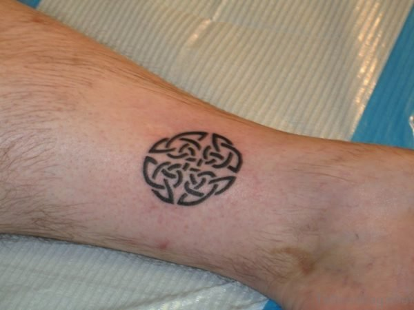 Black Celtic Tattoo On Ankle