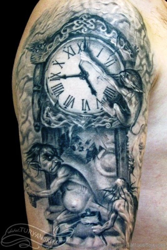 Black Clock Shoulder Tattoo Design