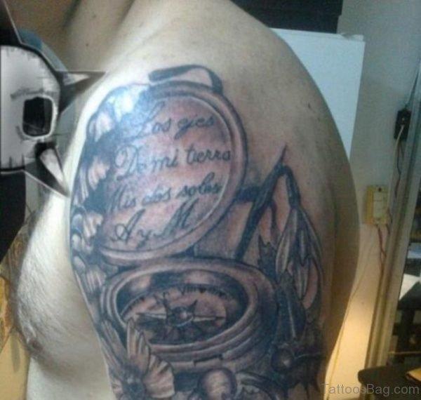 Black Compass Tattoo On Shoulder For Men