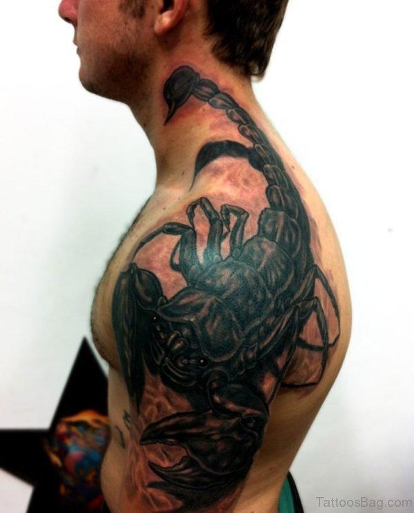 Black Crab Shoulder Tattoo
