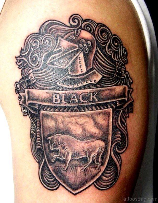 d13cabd0afb96 Black Crest Bull Tattoo On Shoulder