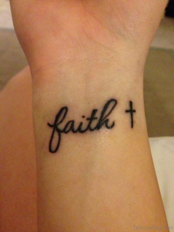 Black Cross With Faith Tattoo On Wrist