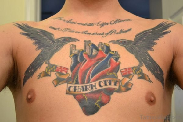 Black Crows And Heart Tattoo On Chest