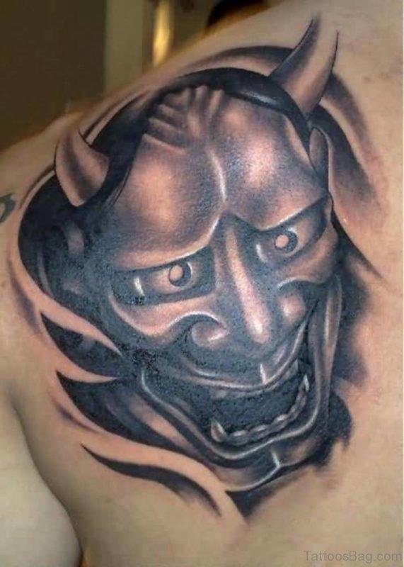 Black Devil Mask Tattoo