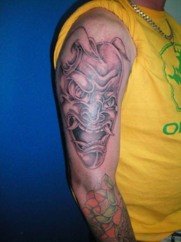 Black Devil Mask Tattoo On Shoulder