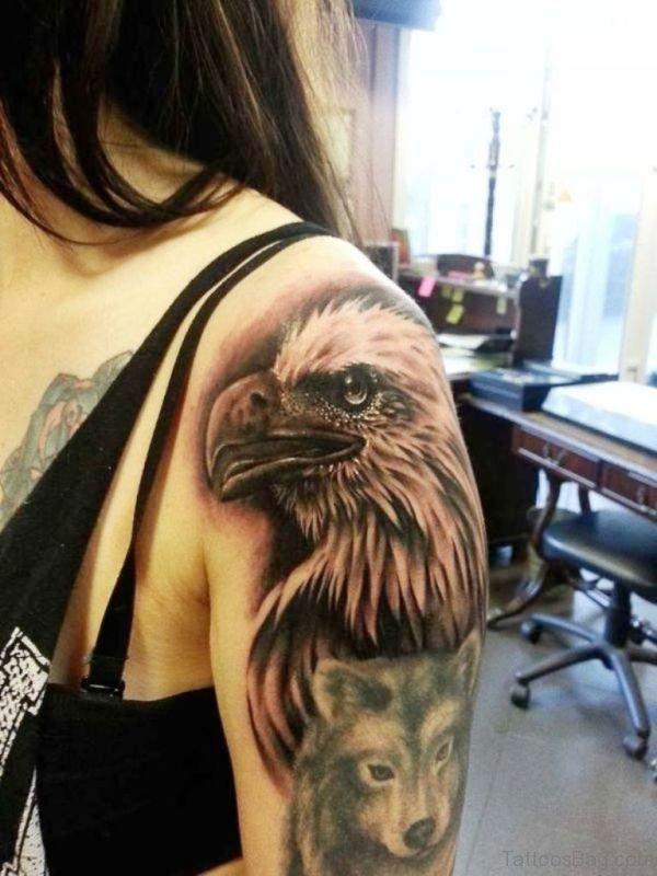 Black Eagle And Bear Tattoo Design