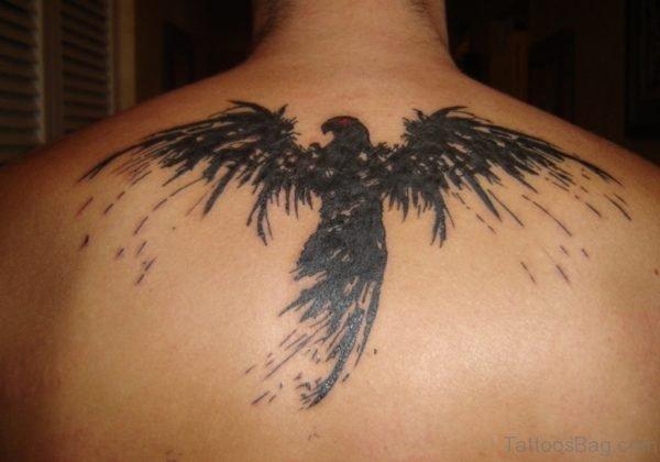 Black Eagle Tattoo On Back