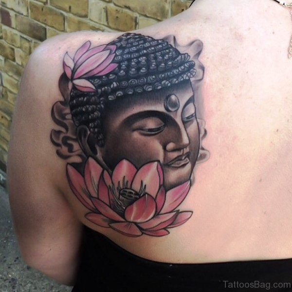 Black Face Buddha Tattoo With Lotus