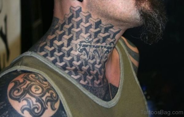 Black Gangster Tattoo On Neck