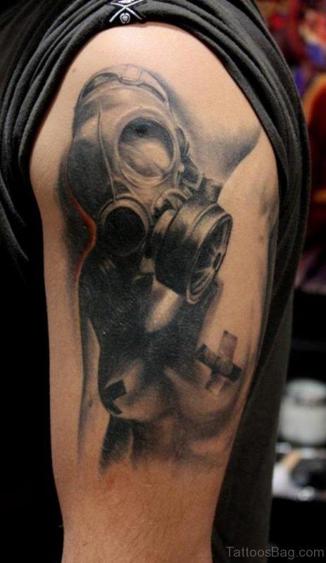 Black Gas Mask Tattoo
