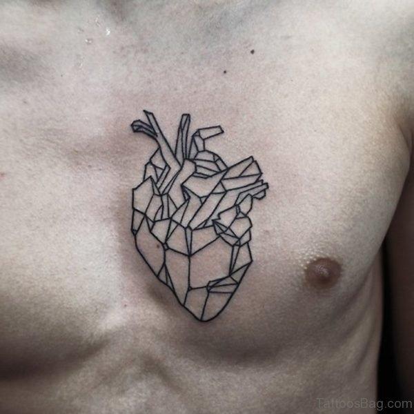 Black Geometric Heart Tattoo On Man Chest