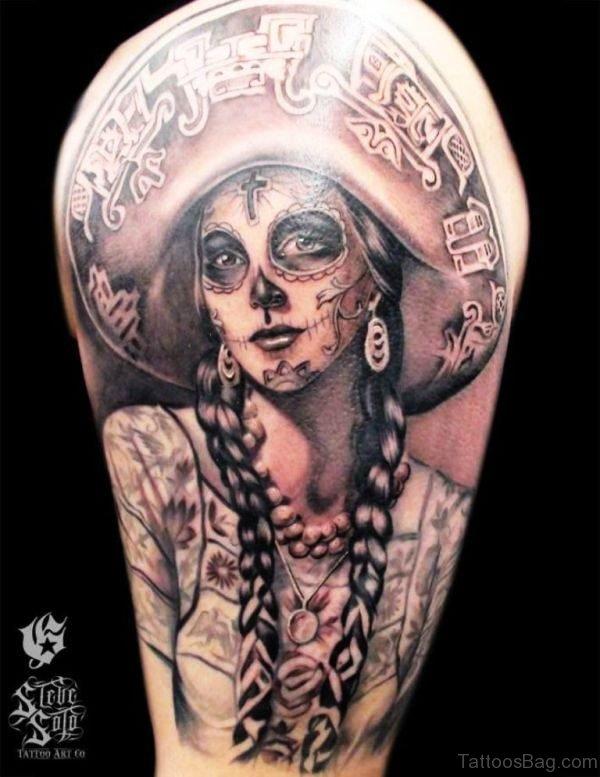 Black Girl Skull Tattoo