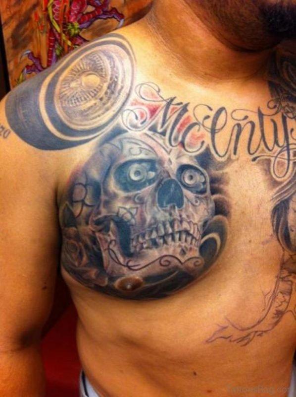 Black Gray Skull Tattoo On Chest