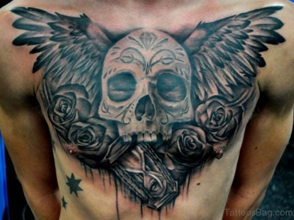 Black Gray Winged Skull Tattoo