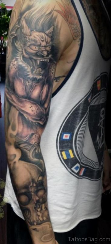Black Grey Asian Traditional Full Sleeve Tattoo