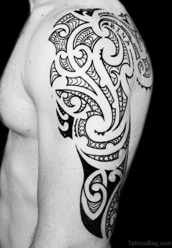 Black Half Sleeves Shoulder Tattoo Design
