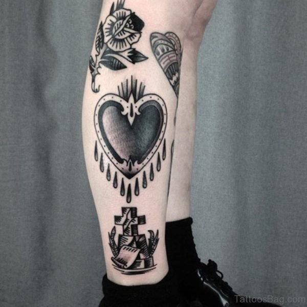 Black Heart Tattoo Design