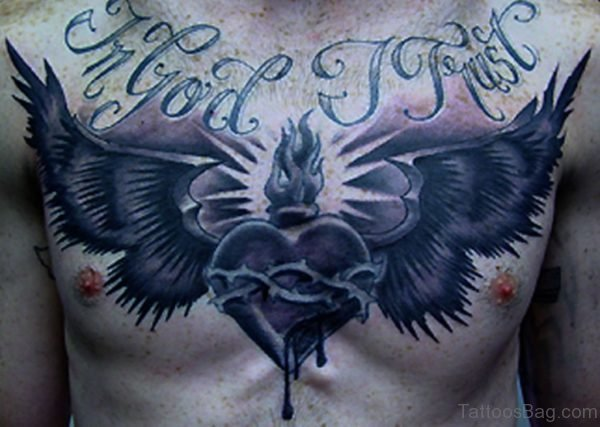 Black Heart With Wings Tattoo On Chest