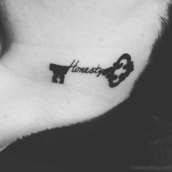 Black Honesty Neck Tattoo