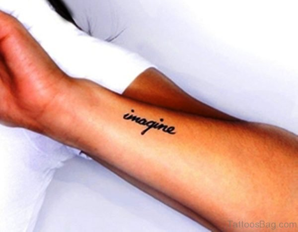 Black Imagine Wrist Tattoo